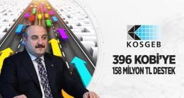 396 KOBİ'ye 158 Milyon lira Destek Verilecek