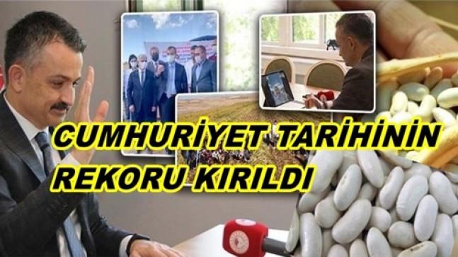 """""""KURU FASULYE ÜRETİMİNDE CUMHURİYET TARİHİNİN REKORUNU KIRDIK."""